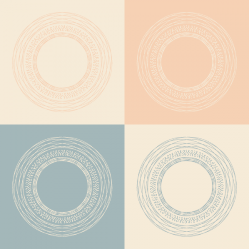 Conceptual set of round frames in pastel colors